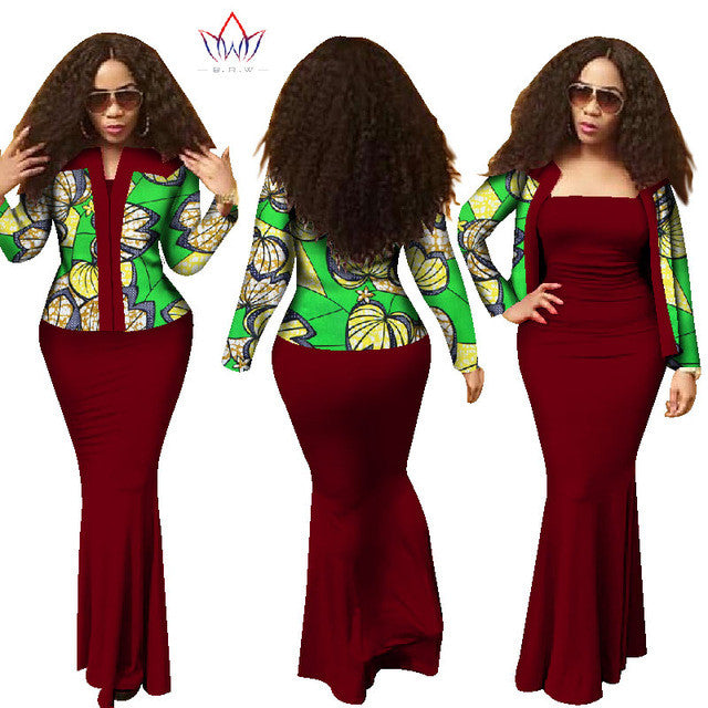 937beffe538a 2017 New African Dresses for Women Traditional African Clothing 2 Piece  Dress Top Spring Long Dress Suits Plus Size WY1313