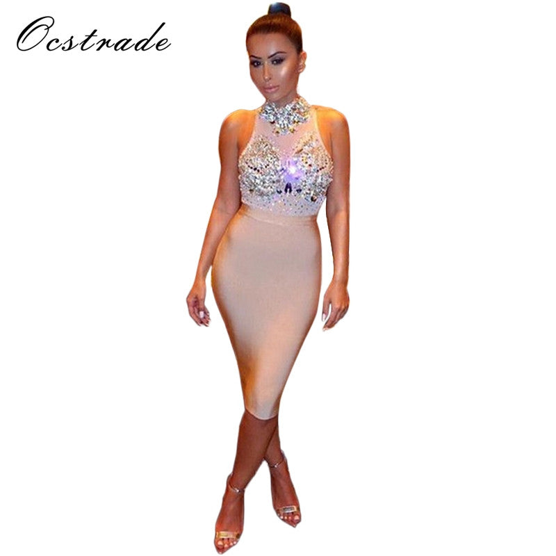 c0a93ceda6 2017 Club Party Dresses New Arrival Women's Nude Red Black Studded Bodycon  Dress 2016 Sexy Bandage Mesh Dress Wholesale HL
