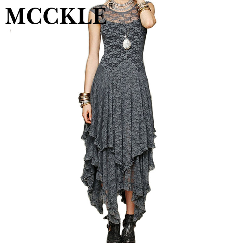 4e26841a506 MCCKLE Women s Boho People Hippie Style Irregular Lace Dresses Sexy Long Dress  Double Layered Ruffled Trimming Dress Clothing