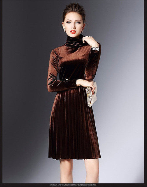 004260faf9fc6 2016 Autumn Winter Womens Velvet Dresses Warm Turtleneck Velvet Dress  Vintage Long Sleeve Pleated Party Dresses vestidos mujer