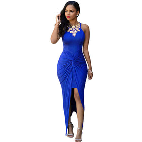 53c9b5a9e0c SEBOWEL 2016 Summer Style Sexy Bodycon Long Club Dress Sleeveless Tie Front  Split Party Dresses Beachwear