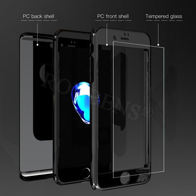 new style 272af 54550 Roybens Fashion Metal Mirror 360 Full Protection Case For iPhone 6 6S Plus  For iPhone 7 Luxury Case Thin PC Cover + Temper Glass
