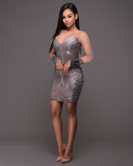 538fd799c5d See Through Women Sequin Dresses Backless Vestidos Silver Bandage Dresses  Bodycon Sexy Mini Party Night Club Dress Femme Jupe