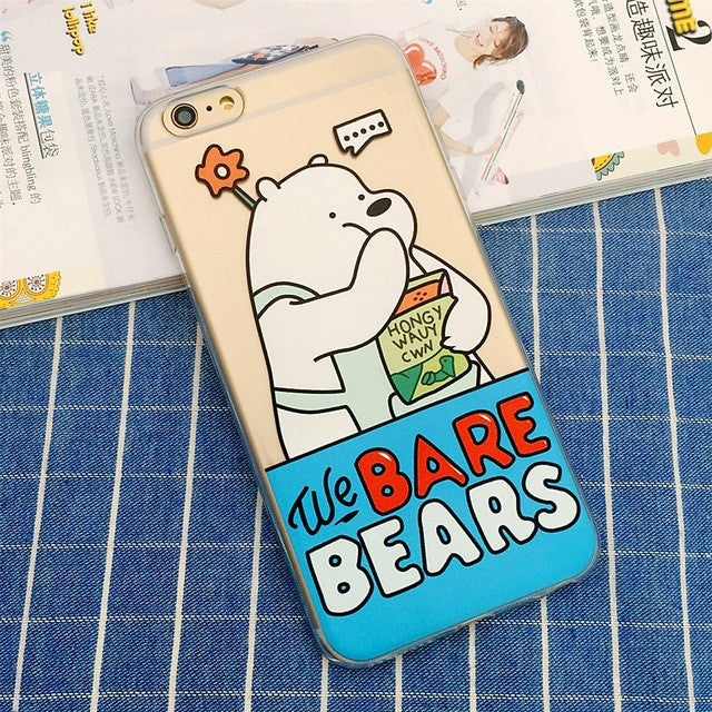 best loved fd017 9c497 We Bare Bears Clear Transparent Soft TPU Cartoon Cute Phone Case for iPhone  SE/5s/5 6 Plus/6s Plus 6s/6 Back 7/7 Plus Cover Skin