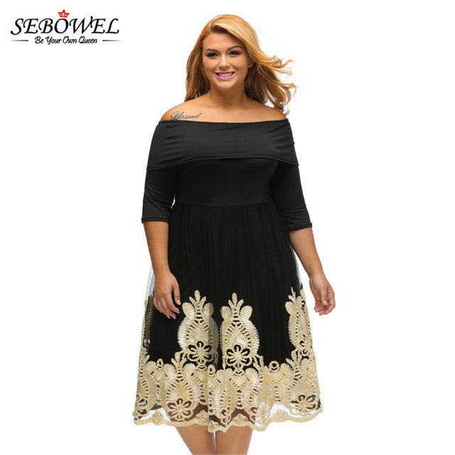 5b094dd5c1d3a Spring 2017 Women Party Dress Plus Size XXXL Dresses Sexy Black Half Sleeve  Off Shoulder Embroidery Lace Tulle Skater Midi Dress