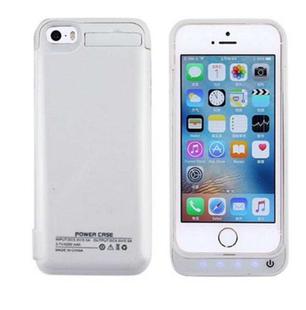 hot sale online 874e3 80844 New 4200mAh Portable Backup External Battery Charger Case Power Bank Pack  Charging Cases Cover For iPhone 5 5S SE Battery case