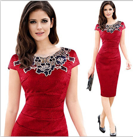 e622a89d6db5 FEIBUSHI Womens Embroidery Elegant Vintage Dobby Fabric Hollow out  Embroidered Ruched Pencil Bodycon Evening Party Dress