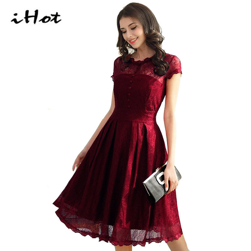 d5ee86ba68ca IHOT Summer Hollow out womens fashion Midi dress Floral Lace Patchwork  Evening Swing Knee Length party Black Red Tunic dress
