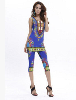 58e93dd4dbb83 Dashiki dress 2016 Summer Women sexy Bohemian Robe Femme Africa Print  Indian Style Two piece set roupas feminina