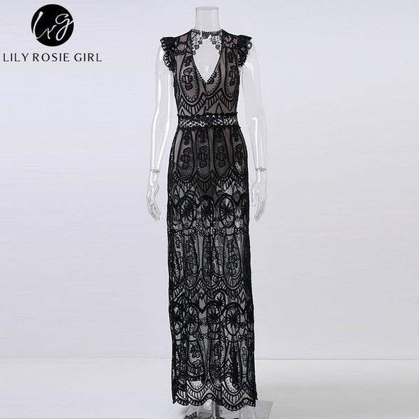 1f43057c2be1 ... Sexy Hollow Out White Lace Dress Women Spring High Waist Sleeveless  Backless Dress Elegant Christmas Maxi ...