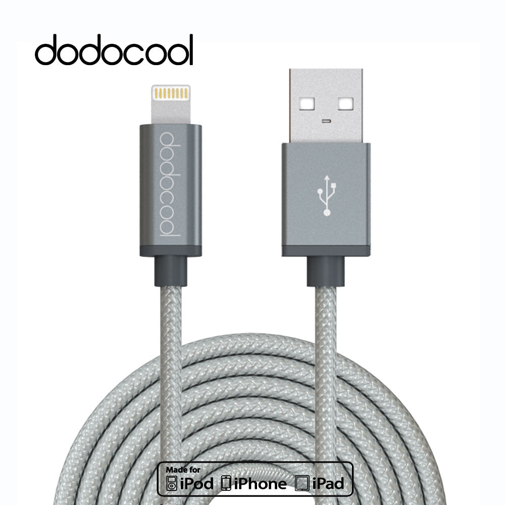 dodocool 10ft 3m Metal MFI certified Lightning to USB Cable For iPhone 7 Plus 5 SE 6 6s plus iPad Nylon fast charging Cable USB