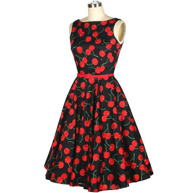 2017 New Summer Dresses Plus Size Women Clothing Ladies Cotton Rockabilly  Pinup Swing Vintage Dress Cherry Floral Print