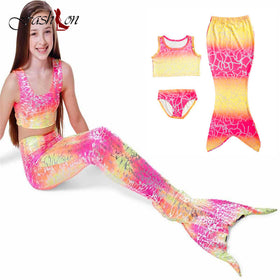 c13de622a6ec8 3Pcs Girls Mermaid-Tail Costume Kids Mermaid Tails For Lovely Children Swimmable  Mermaid Cosplay Clothes