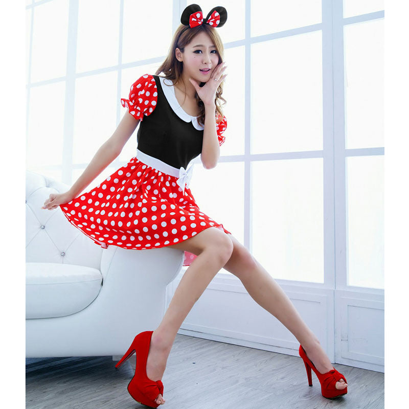 Minnie Mouse Christmas Dress.2017 New Fashion Sexy Christmas Minnie Mouse Wave Point Women Xmas Costume Cosplay Hot Sell Dress Up Outfit Ear Girl Sex Lady Lb