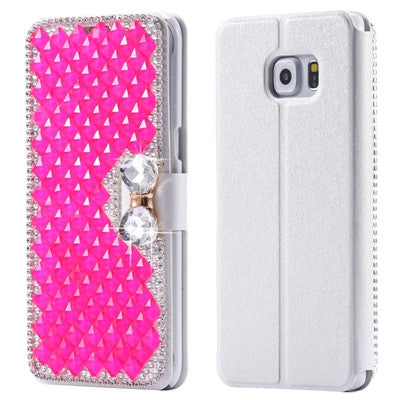 online retailer 16843 f8140 KISSCASE Bling Diamond Case For Galaxy S6 Edge PU Leather Glitter  Rhinestone Flip Phone Cover For Samsung Galaxy S6 Edge S7 Edge