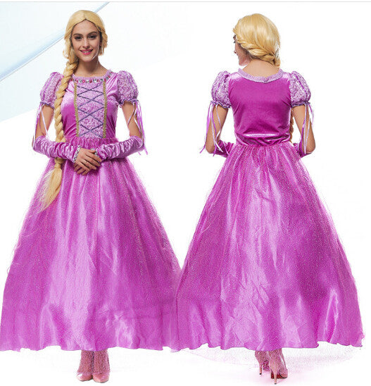 a4d0db044e83e Free shipping princess Rapunzel Halloween sexy M-XL Women Adult party  Costume Cosplay fancy dress+gloves carnival Dress