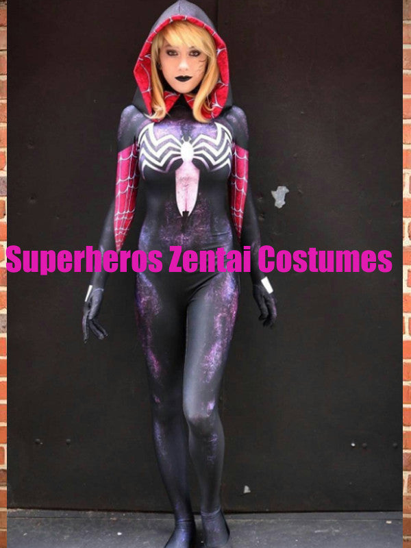 Spider Gwen Stacy Costume 3D Print Cosplay Party Female Spiderman Suit No Mask