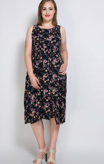 b51c71b06e6 Really Love Women s Floral Printed Plus Size Summer Vintage Dress Sleeveless  Cocktail Party Casual Midi Dress 5XL 6XL 7XL