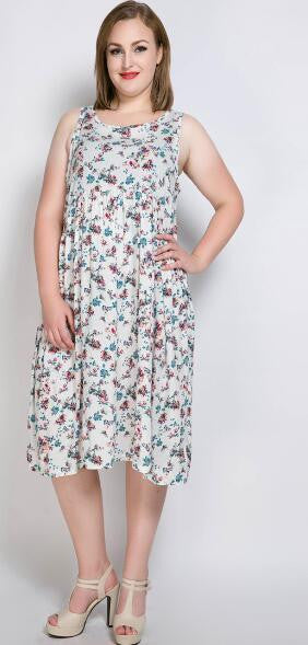 5959ddb91b0 Really Love Women s Floral Printed Plus Size Summer Vintage Dress  Sleeveless Cocktail Party Casual Midi Dress 5XL 6XL 7XL
