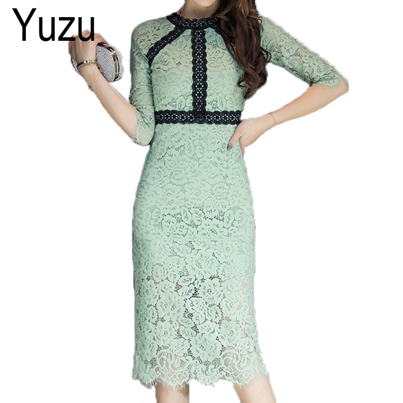 Vintage Light Green Lace Dress Women Elegant Alibaba Express Half Sleeve  Dresses O-Neck Slim Casual Pencil Bodycon Midi Dress