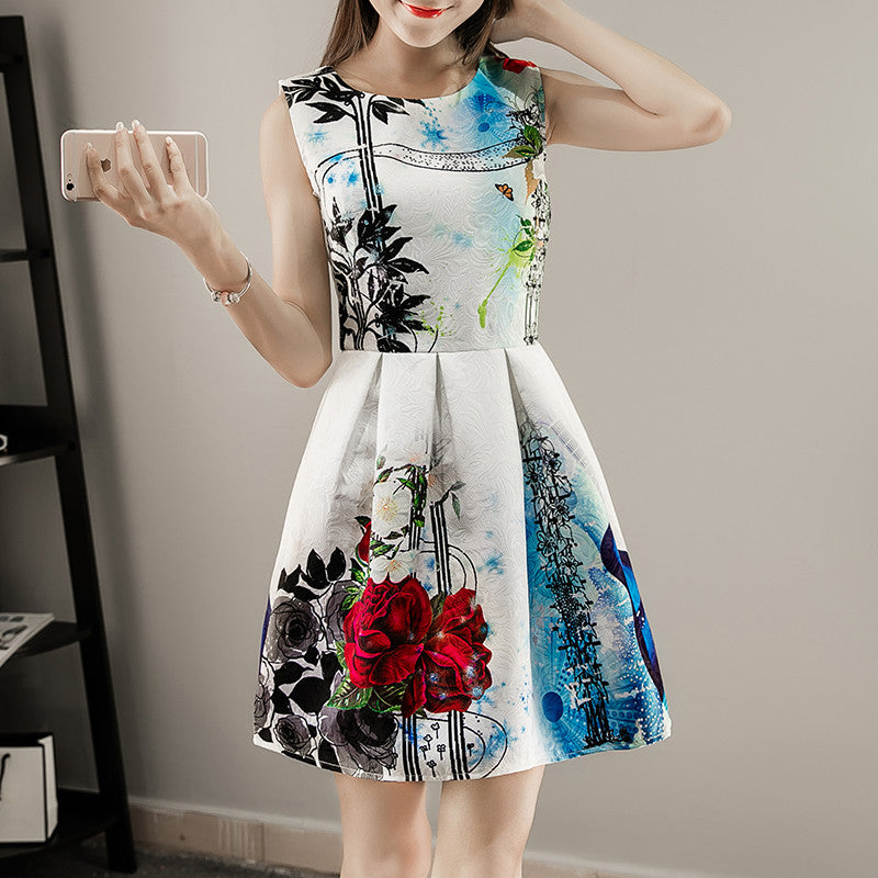 85b78113a7 New Floral Printed dress 2017 spring/summer Women Sleeveless Casual Dresses  Ladies vintage print plus size jacquard clothing