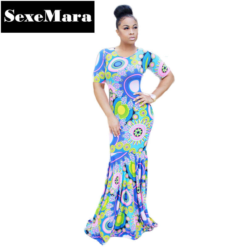 b0e656f3f7a Hot Style Sexy Blue Floral Print Floor Length Maxi Dress Mermaid Plus Size  Autumn Dress Dashiki African Print Dresses D29-AE42