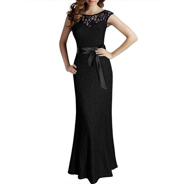 de69371879 Plus Size Lace Floor Length Women Formal Occasion Dress Backless Sleeveless  Pinup Slim Belted Big Size XXL Party Dress Evening