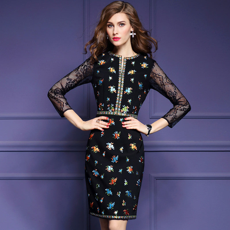 a5b98b51718b Soperwillton 2017 Women Dresses Summer New Party Dress Hollow out  SleeveEmbroidery Dress Vintage O-neck Slim Bodycon  Bd0704
