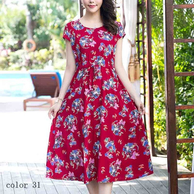 2017 New style women casual plus size summer dresses long cotton dress  o-neck print vintage short sleeve vestidos
