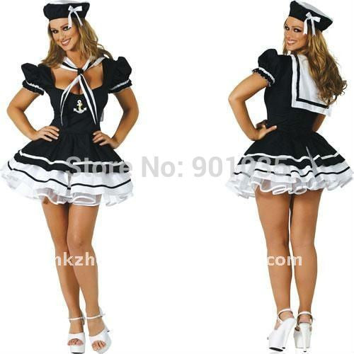 f84d3fe26eeb2 FREE SHIPPING Nautical Navy Sailor Fancy Dress Costume Outfit Halloween  Sexy Navy Sea S,M,L,XL,2XL