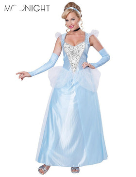 1a12ddf09f08 MOONIGHT Movie Sandy Girl Cinderella Princess Adult Cosplay Costume Deluxe  Party Women Fancy Dress Halloween Masquerade + Quick Shop
