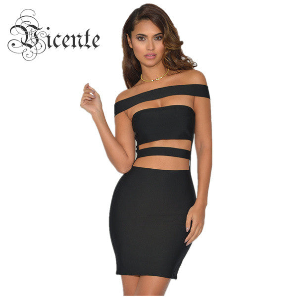 727848b9b8b3f Must Have Hot Style! Free Shipping! Top Runway Fashion Off the Shoulder Cut  Off Design Celebrity Party Bandage Dress VJ045