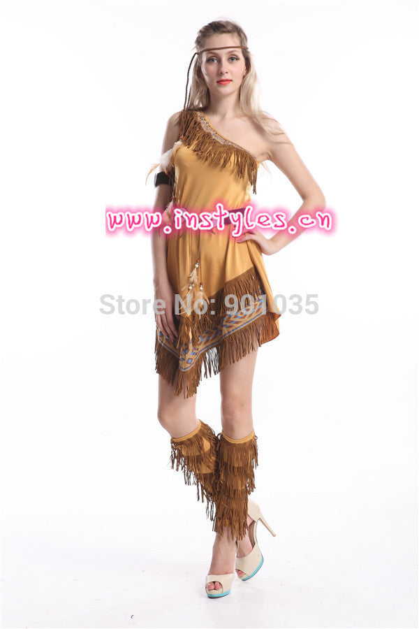 27a2e3080dee7 FREE SHIPPING Indian Costume Womens Pocahontas Adult Fancy Dress