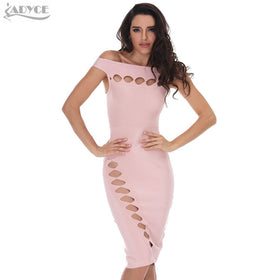 0be2b43c2ae0 2016 Winter New Women Party Bodycon Bandage Dress Pink Holllow Out Slash  neck knee-length