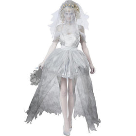 Vampire Zombie Cosplay Ghost Bride Costumes Mesh Mini Dress and Head Wear  Necklace Panties Set Halloween e76eefc2a309