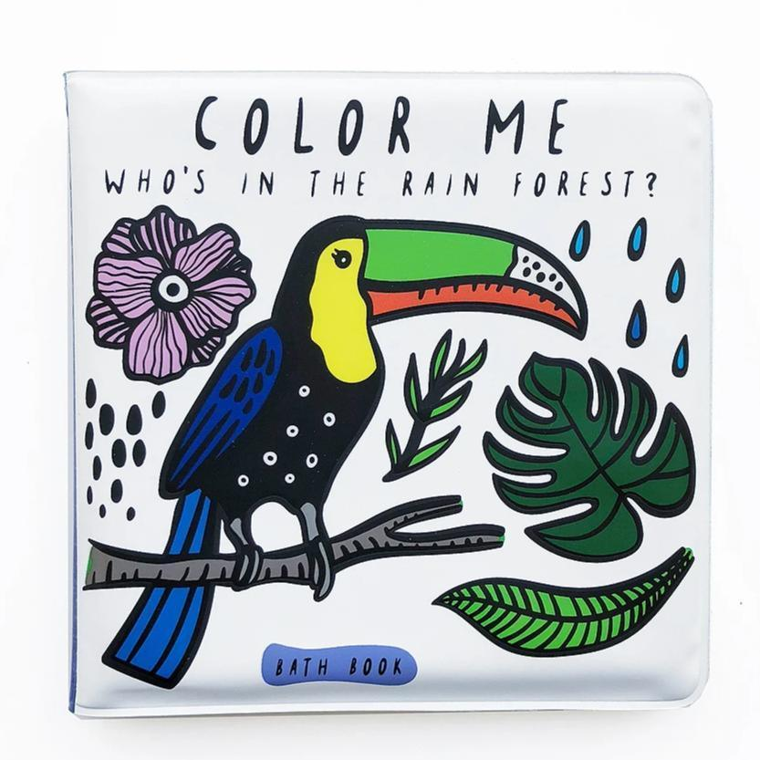 Wee Gallery Bath Book - Colour Me Who's In The Rainforest?