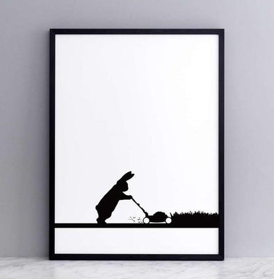 Ham Mowing Rabbit print