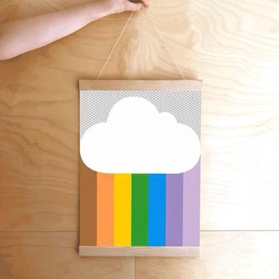 Dicky Bird Rainbow Cloud A3 Print