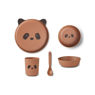 Liewood Panda Bamboo Tableware Box Set - Tuscany Rose