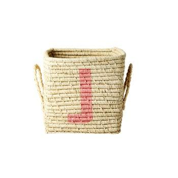 Rice dk Square Raffia Basket with Letter