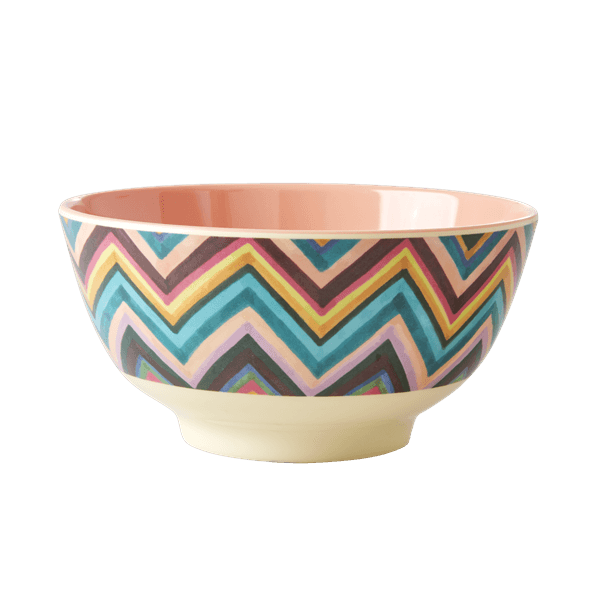 Medium Melamine Bowl - Zig Zag Print