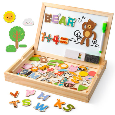 D-FantiX Wooden Magnetic Letters Numbers Animals with Easel Board Alphabet 123 ABC Set