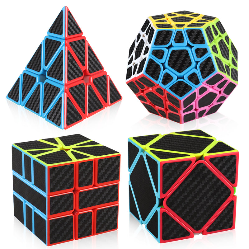 D-FantiX Z Cube Carbon Fiber Speed Cube Bundle Pyramid Megaminx 3x3 Skewb Square-1 Magic Cube Set Puzzle Toys