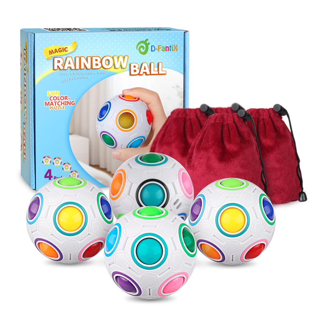 D-FantiX Rainbow Puzzle Ball 4 Pack, Magic Rainbow Ball Puzzle Cube Fidget Ball Toys White