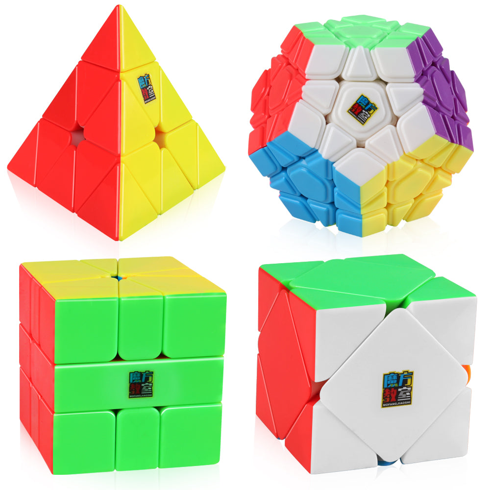 D-FantiX Speed Cube Bundle, Moyu Mofang Jiaoshi Megaminx Pyramid Skewb Square-1 Cube Stickerless