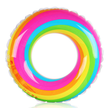 D-FantiX Inflatable Swim Ring Pool Float for Kids Adult Rainbow Swim Tube Float (60cm)