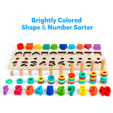 D-FantiX Wooden Math Blocks Sorting Puzzle Board Toys