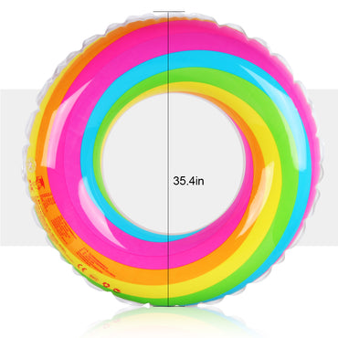 D-FantiX Swimming Ring Pool Float Rainbow Color Inflatable Tube Water Ring (90cm)