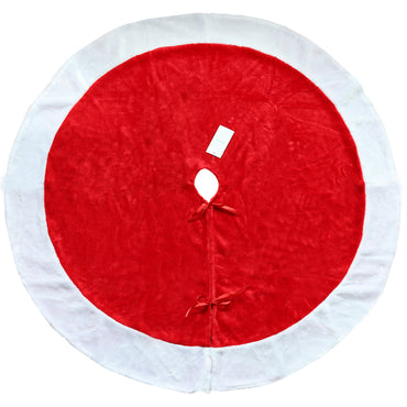D-FantiX Large 48 Inch Traditional Velvet Christmas Tree Skirt Red and White Christmas Decorations