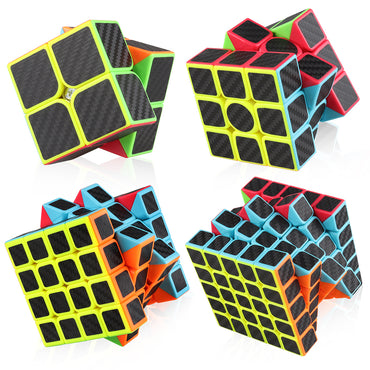 D-FantiX Zcube Carbon Fiber Speed Cube Bundle Pack -2x2 3x3 4x4 5x5 Cube Puzzle Set